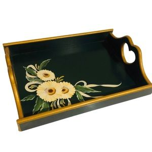 Vintage Hand painted Green and Gold Floral Tray